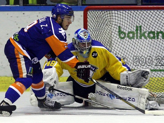 Brankář ústeckých hokejistů Michael Petrásek.