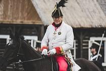 Rekonstrukce napoleonské bitvy u Chlumce. V roli generála se představil herec Vydra.