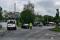 Dopravní nehoda před ZŠ Nová na Střekově