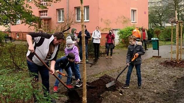 Na výsadbu nových javorů se přišly podívat i je pomoci zasadit děti z ústeckého domu dětí a mládeže.