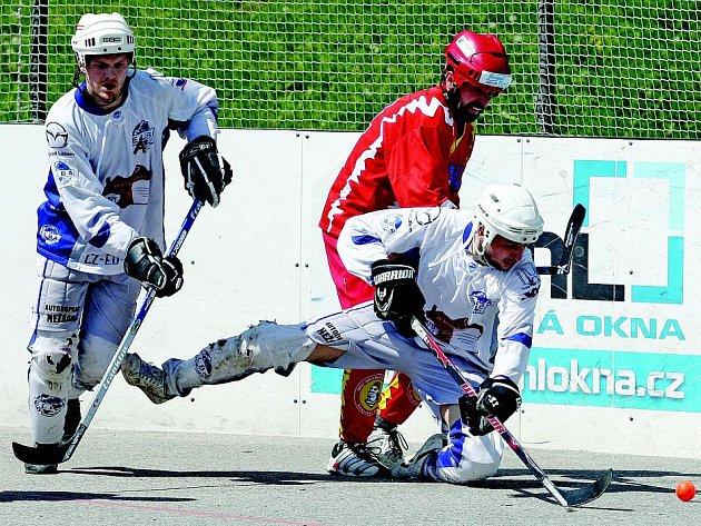 Hokejbalisté ústecké Elby (bílé dresy) se v semifinále postarali o prvotřídní senzaci, když vyřadili vítěze základní části z Hradce Králové. O víkendu vkročí do finále proti Kladnu.
