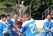 Ústečtí Berani (modrobílí) porazili Ještěry Ústí (černo-bílo-zelení) i ve třetím finálovém utkání a jsou vítězi 2. ligy sever 2019. Berani Ústí, mistr 2. ligy