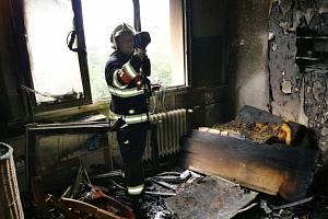Požár v bytě na Severní Terase