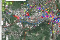 Pocitová mapa Ústí nad Labem.