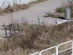Odpočívka u řeky měla být příjemným zastavením. Dnes se na ní povalují odpadky, v přerostlé trávě se krčí koše a nevyužívané cyklostojany. Průměrné náklady na jedno stání byly podle magistrátu 1600 korun. Stojany jsou pod mostem 2, oba pro 4 kola.