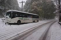 Takto například dopadl autobus při prvním sněhu loni v říjnu, když sjížděl z Tisé.