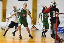 Ústečtí florbalisté (zelení) zvládli další dvě důležité bitvy ve druhé lize a přiblížili se k postupu.