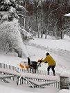 Sněhová nadílka v Tisé na Ústecku