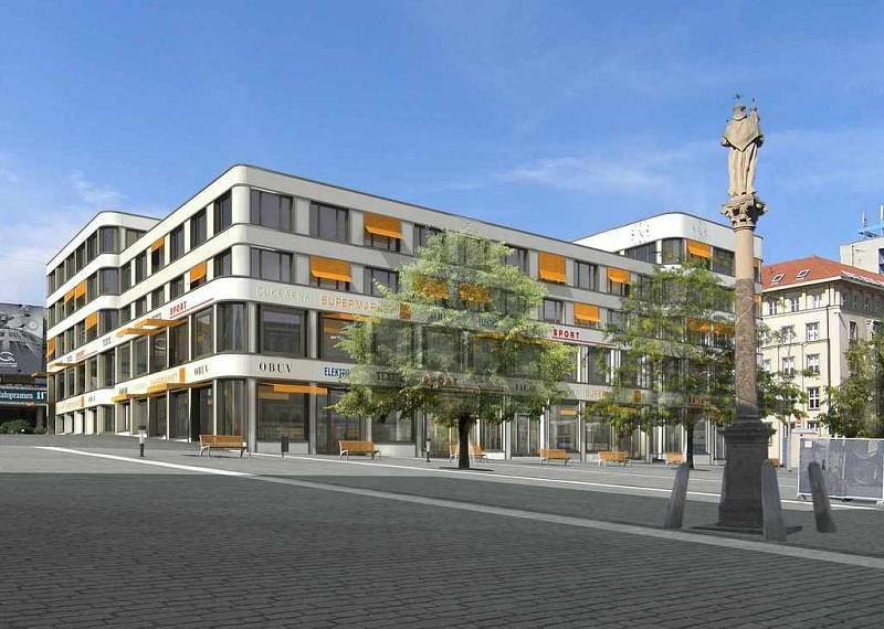 Projekt paláce Zdar, který roste  na  Mírovém naměstí