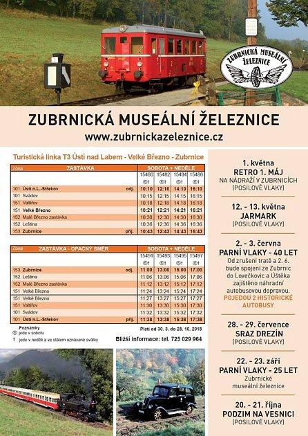 Jízdní řád Zubrnické muzeální železnice 2018.