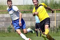 Fotbalisté Trmic (vlevo Šalda) zakončili letošní sezonu 1.B třídy na čtvrtém místě.