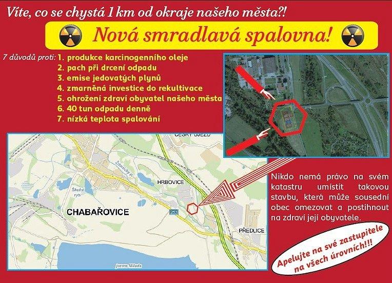 Leták proti budoucí spalovně sdílejí Ústečané na Facebooku.