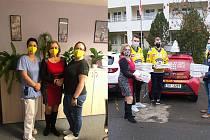 Hokejisté Ústí nad Labem darovali roušky a pizzy Domovu pro seniory na Bukově.