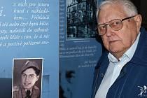 Na panelu se usmívá z fotografie člen porevoluční policie, osmnáctiletý mladík. Svoji fotografii z roku 1945 si prohlíží dnes sám muž z fotografie - Bedřich Brabec.