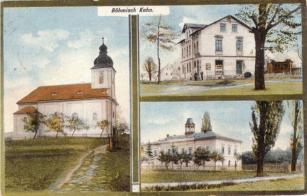 Kostel, obchod, zámeček.