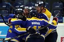 Ústečtí hokejisté se radují z branky.