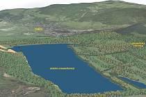 Budoucí podoba jezera Milada (pohled od Chabařovic)