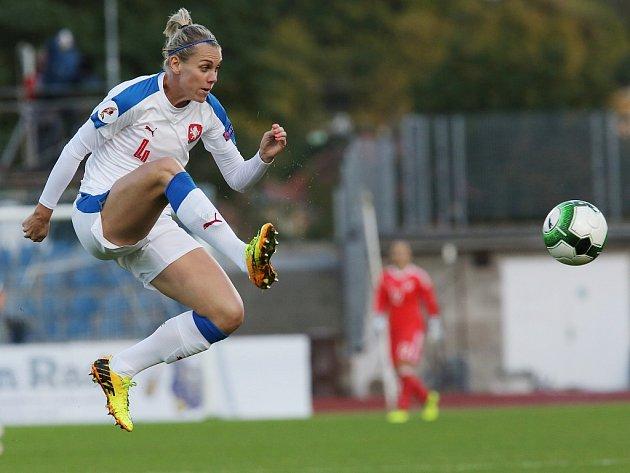 Utkání reprezentantek Česka (v bílém) proti Německu