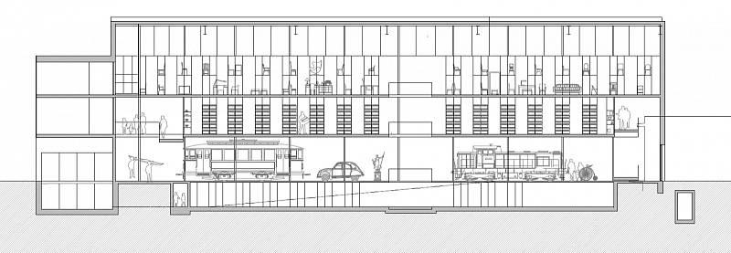 Podélný řez novým depozitářem ústeckého muzea v opuštěné rozvodně