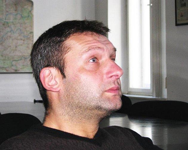 Trenér FK Ústí nad Labem Svatobluk Habanec při on-line rozhovoru v Deniku
