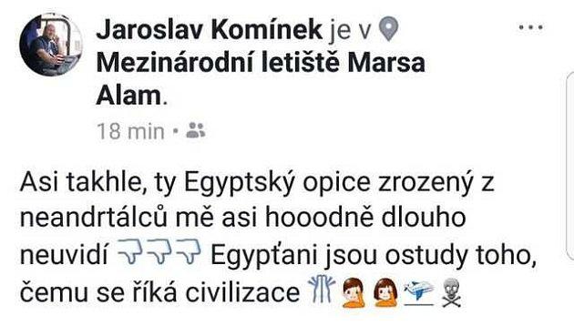 Nevhodný komentář zveřejnil Jaroslav Komínek na svém facebookovém profilu.