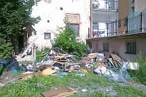 """V létě zřejmě jeho """"pokojová služba""""  uklidila odpadky přes plot k sousedovi."""