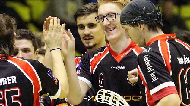 Ústečtí florbalisté se radují z gólu. Ilustrační foto.