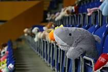 Netradiční koronavirová Plyšákománie Slovanu Ústí nad Labem. Tribuny zimního stadionu obsadilo 302 plyšáků