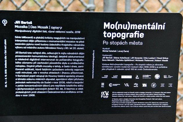 Plot klíšského kampusu Univerzity J. E. Purkyně. Projekt Fakulty umění a designu Mo(nu)mentální topografie ke 25.výročí vzniku umělecké školy - součásti UJEP.