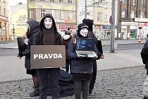 Veganští aktivisté vytvořili v centru Ústí kostku.