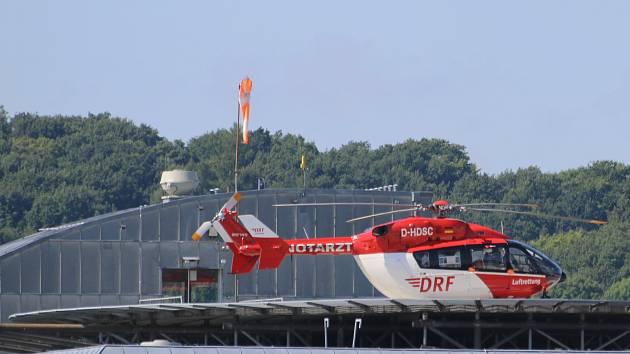 Vrtulník německé záchranky přistál v Ústí.