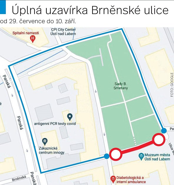 Uzavírka Brněnské ulice.