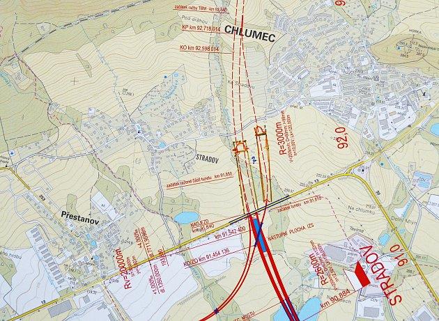 Návrh, kde by vbudoucnu měl mezi Chlumcem a Stradovem vést tunel vysokorychlostní železnice.