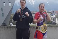 Kickboxeři Vítězslav Svoboda a Lenka Masopustová na Světovém poháru v Innsbrucku. Foto: SKK Lovosice/V.Masopust
