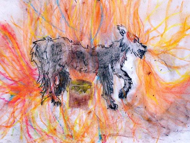 Ohnivého psa zÚstecka namalovala Anna Patricie Vorlíčková.