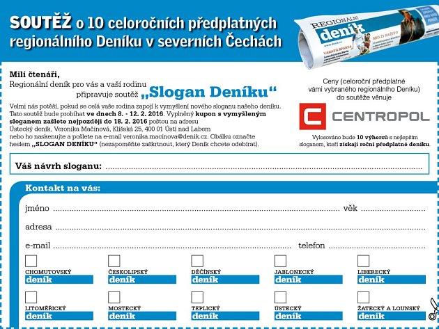 Soutěž Slogan Deníku probíhá 8. - 12. 2. 2016.