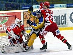 Ústečtí hokejisté (žlutí) doma podlehli Prostějovu 3:4.