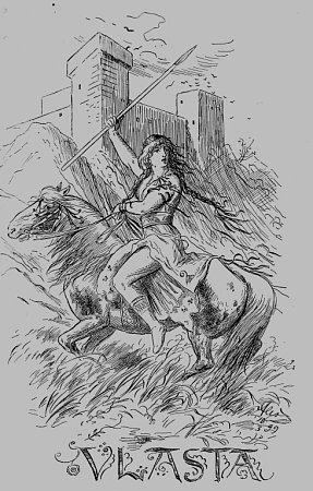 Velitelka dívčích bojovnic Vlasta vpředstavě Mikoláše Alše.
