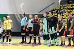 Florbal Ústí n/L (černí) - AC Sparta Praha (žlutí), utkání Poháru Českého Florbalu 2020.