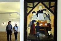 Výstava obrazů izraelské výtvarnice českého původu Anniky Tetznerové Červená stuha terezínské ghetto očima dítěte začal v Muzeu města Ústí nad Labem.