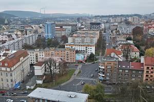 Centrum Ústí nad Labem pohledem z Mariánské skály. Ilustrační foto