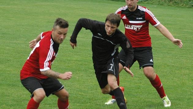 Fotbalisté Brné (červení) doma porazili Rumburk 2:1.