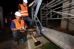 Zkušební výstavba protipovodňové hráze na předmostí v Ústí nad Labem