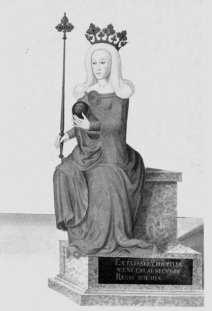 Královna Eliška Přemyslovna na kresbě ze 16.století.