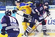 Ústečtí hokejisté (žlutí) doma porazili Benátky 4:0.