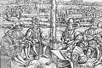 Během Šmalkaldské války, která sehrála svou roli během prvního stavovského povstání. Povšimněte si oděvu vojevůdců, který kopíruje oděv landsknechtů, tehdejší elitní žoldnéřské pěchoty.