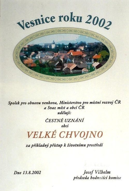 Čestné uznání obci, Vesnice roku 2002.