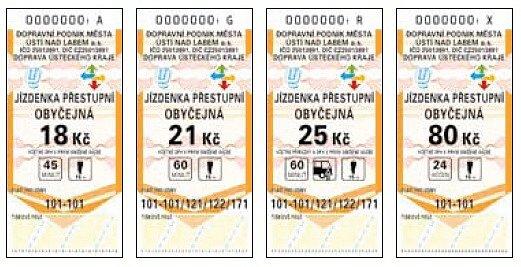Nové jízdenky ústecké MHD.