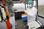 Pracovníci Krajské hygienické stanice odebírají stěry v interiérech trolejbusů a zkomají je na přítomnost viru žloutenky.