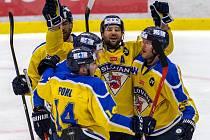 Hokejisté Ústí nad Labem se radují z gólu.